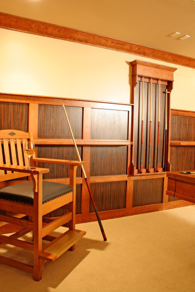 Billiard S Room With Pool Cue Rack Contemporary Hall