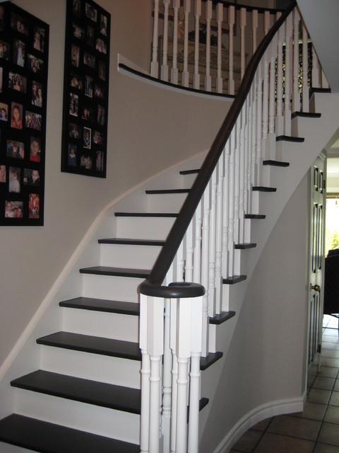 black and white stairs traditional hall toronto by rose arangio
