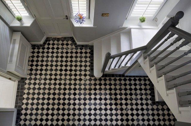 Black white tiled hallway traditional hallway and landing