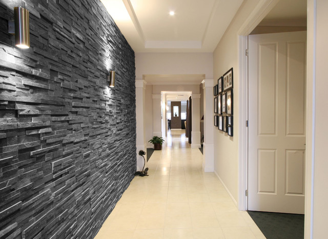 Black Slate Split Face Tiles Modern Hallway Landing