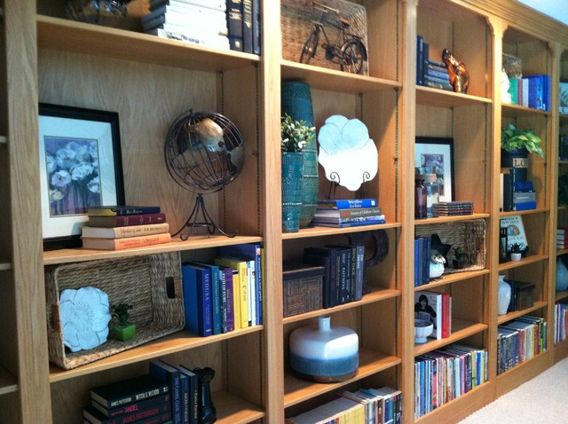Bookcase Wall traditional-hall