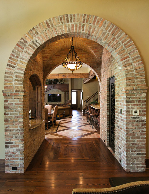 Brick arch mediterranean hall other by terry m for Internal arch