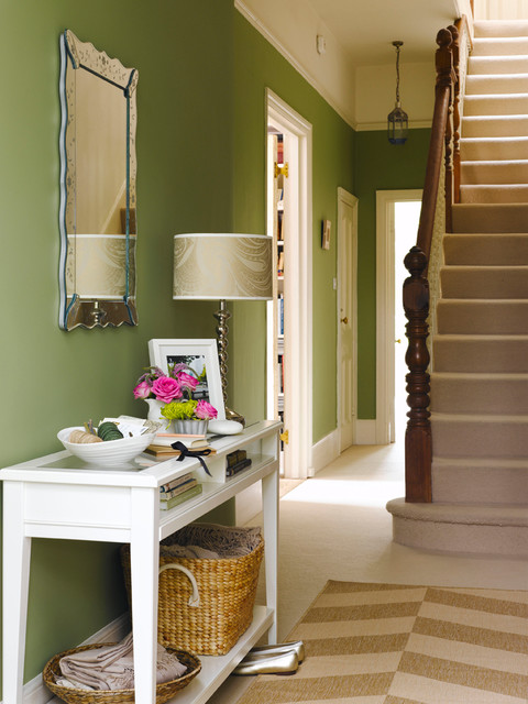 Bright Hallway In Green And Neutral Tones Contemporary
