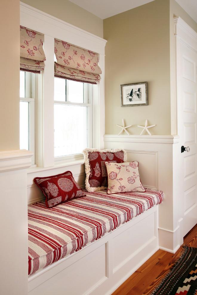 Hallway - beach style medium tone wood floor hallway idea in Philadelphia with beige walls