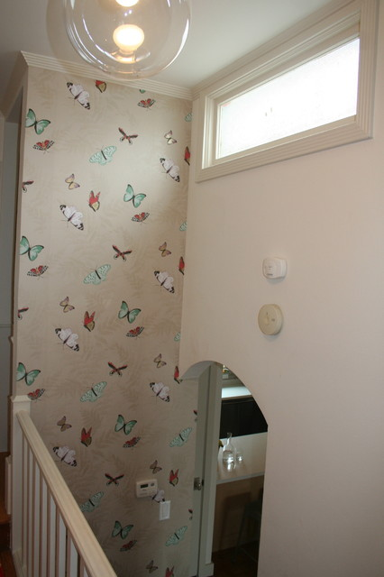 butterfly wallpaper eclectic hall