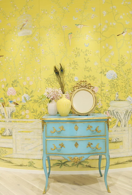 Chinoiserie Hand Painted Wallpaper Traditional Hall
