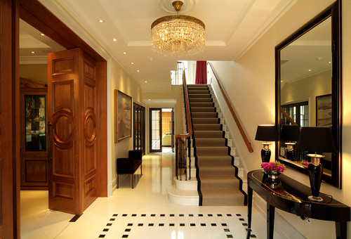 5 examples of beautiful hallway designs carpet runners for Drawing hall interior decoration