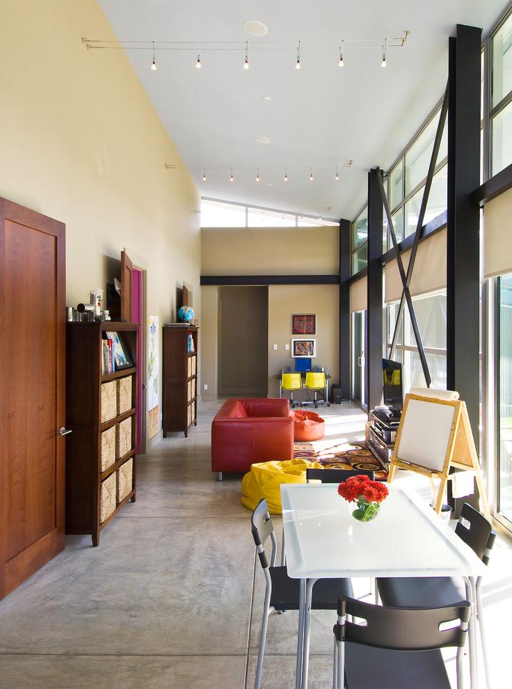 Hallway - mid-sized contemporary concrete floor and gray floor hallway idea in San Francisco with beige walls