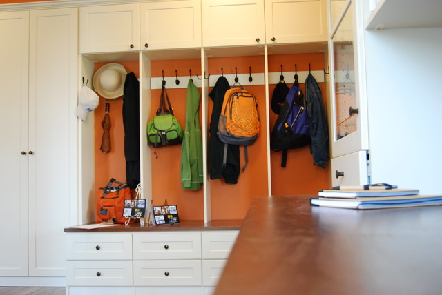 Coat cubbies and home office - Traditional - Hall - other ...