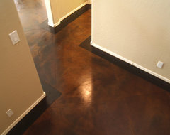 concrete overlay and stain with cuts