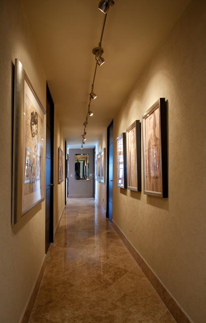 Contemporary art gallery hallway contemporary hall for Modern home decor llc