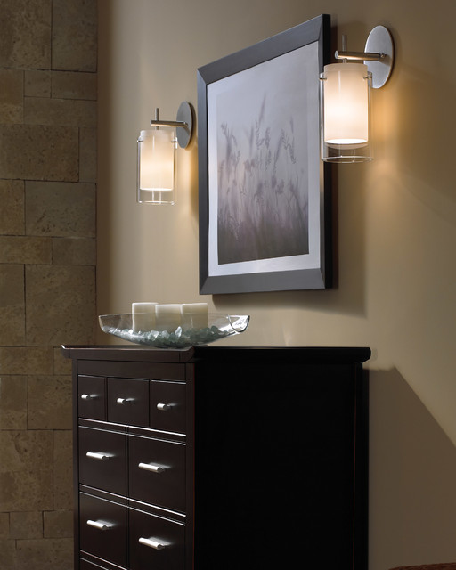 Bathroom Wall Sconces Placement : Contemporary Hall