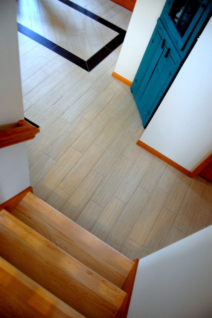Contemporary Wood-look Porcelain Tile Installation - Verona, WI contemporary-hall