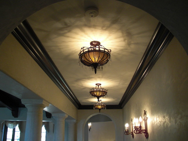 Corridor Crown Molding And Light Fixtures