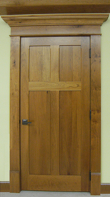 Craftsman Doors - Solid Cherry Wood Reverse 4-Panel Design craftsman-hall & Craftsman Doors - Solid Cherry Wood Reverse 4-Panel Design ...