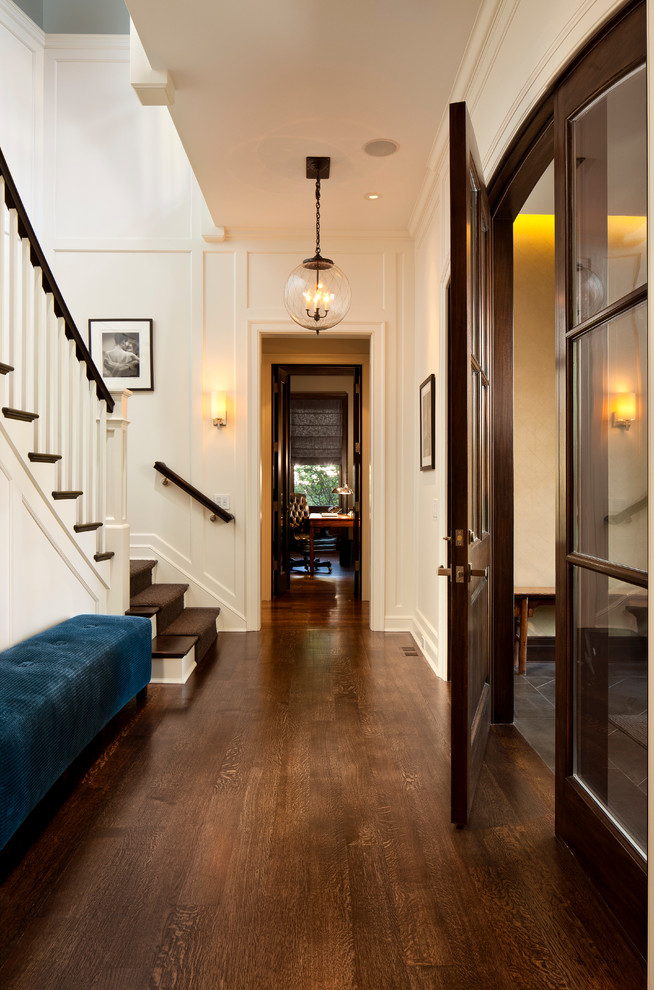 Hallway - mid-sized victorian dark wood floor hallway idea in Chicago with white walls
