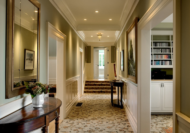 Hallway   Victorian Carpeted Hallway Idea In New York With Green Walls
