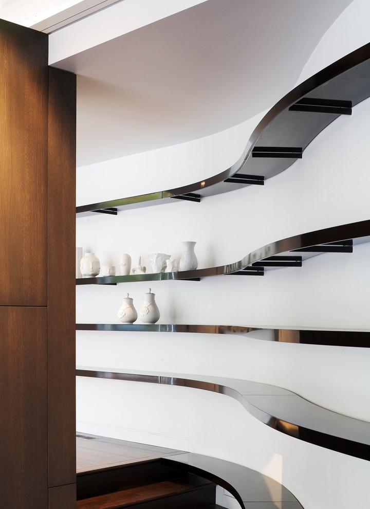 Hallway - contemporary hallway idea in Kansas City with white walls