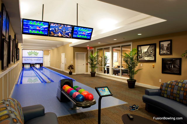 Custom Residential Bowling Alley Contemporary Hall
