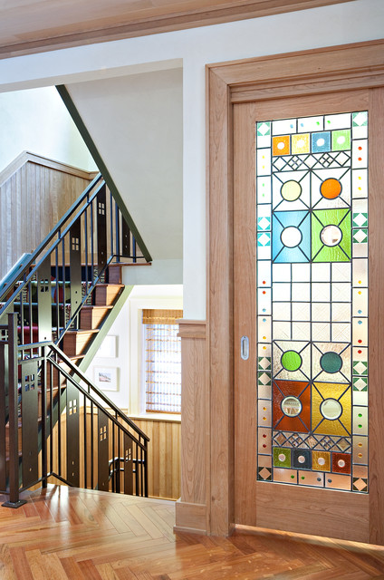 Custom Stain Glass Door eclectic hall
