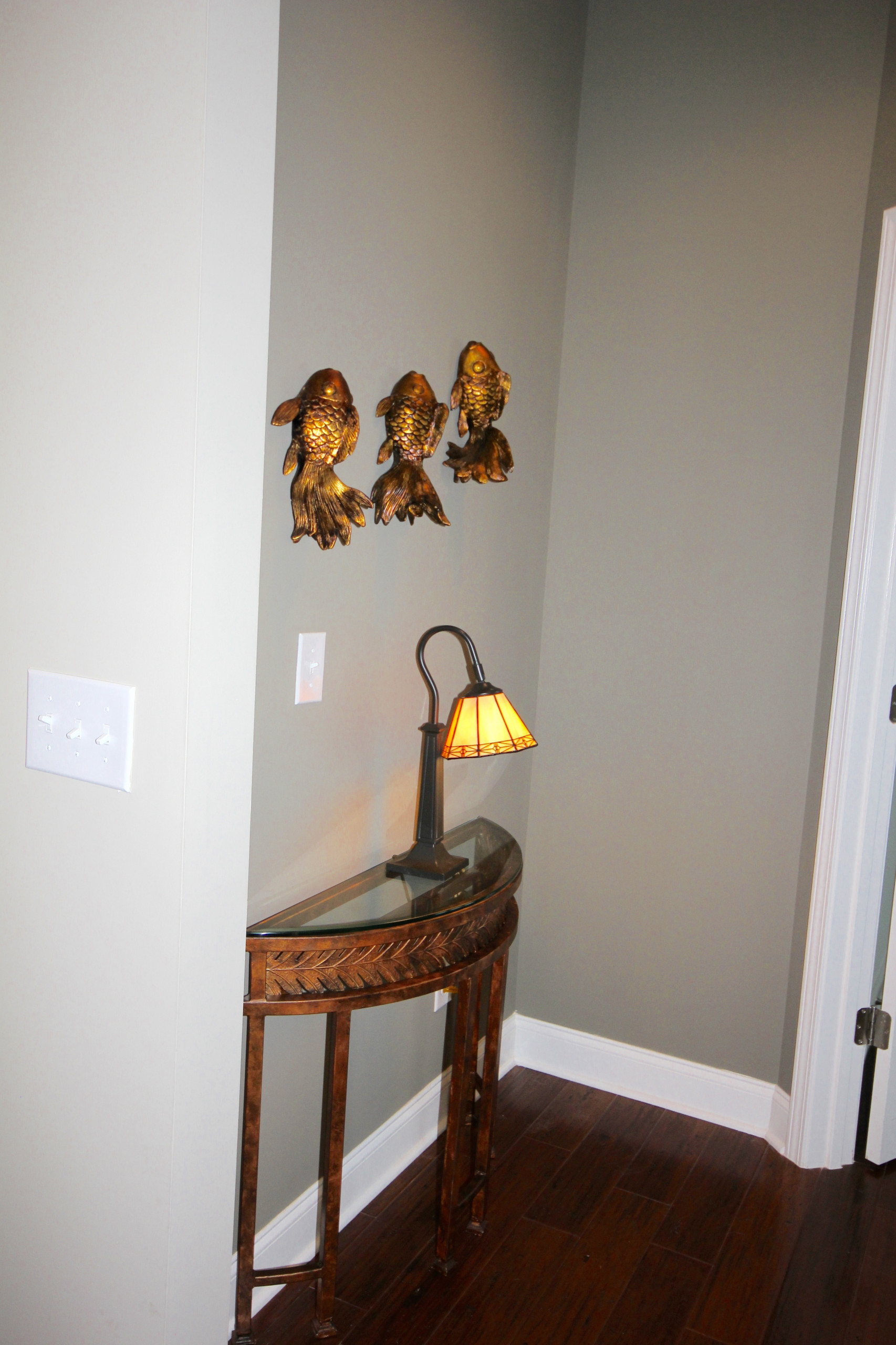 Darker accent paint was added in the hall to master bedroom and dining room wall
