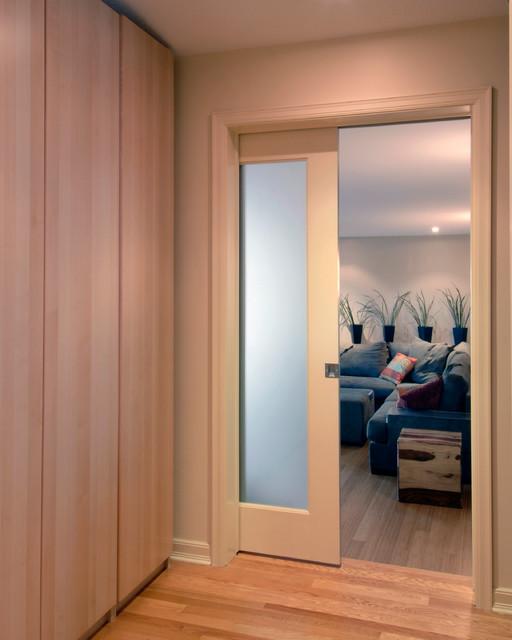 Door to living room contemporary-hall
