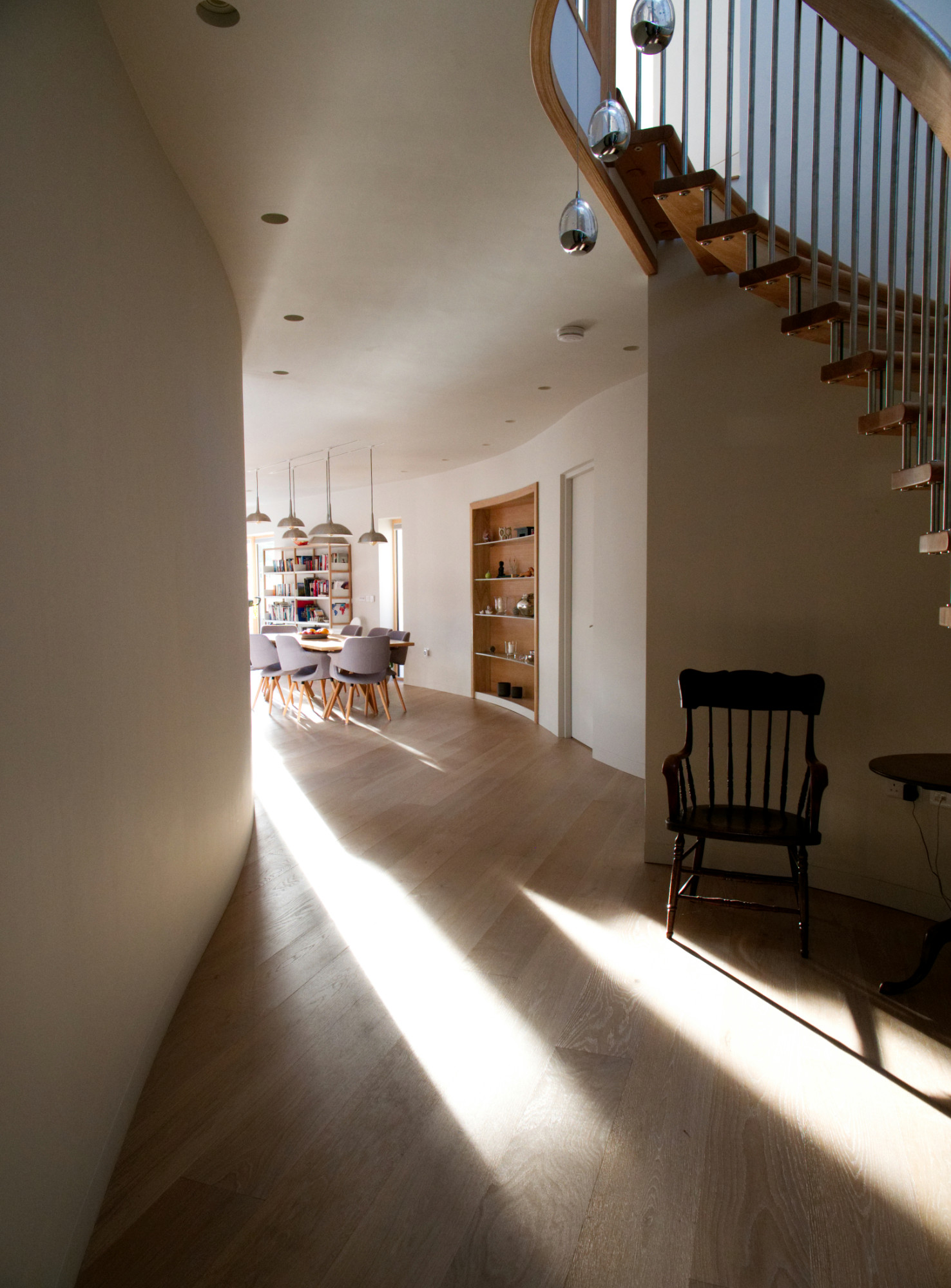 Dramatic hall leading into dining area