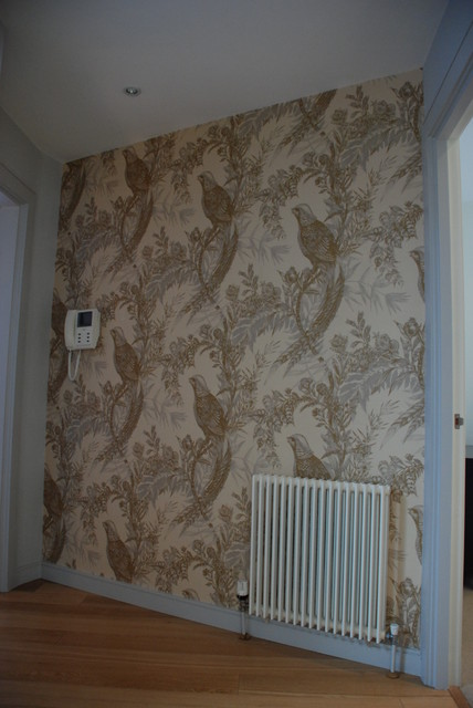 Dramatic wallpaper in hall contemporary hallway for Hallway wallpaper