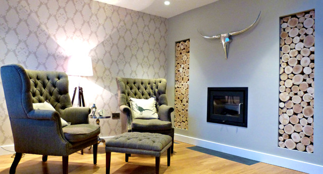 Dual Alcoves Filled With Decorative Logs In A Hallway/Snug  Contemporary Hallway And