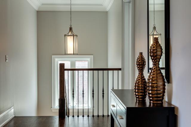 Hallway - transitional hallway idea in Toronto