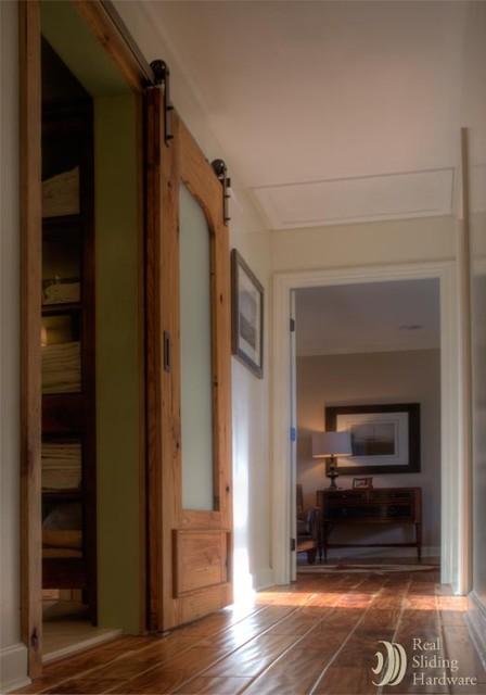 Rustic Sliding Barn Door In Hallway Eclectic Hall By