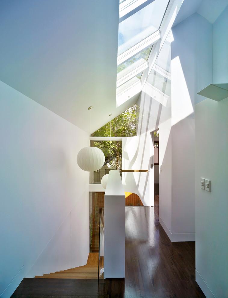 Example of a trendy medium tone wood floor hallway design in Sydney with white walls