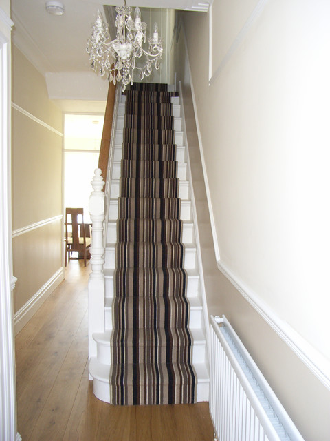 Engineered Oak Hall Floor With Striped Stair Carpet Runner  Contemporary Hallway And Landing