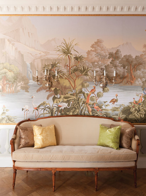 European Scenic Hand Painted Wallpaper Traditional Hallway And Landing