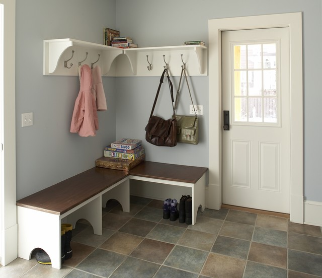 Farmhouse kitchen remodel mudroom traditional hall for Farmhouse plans with mudroom