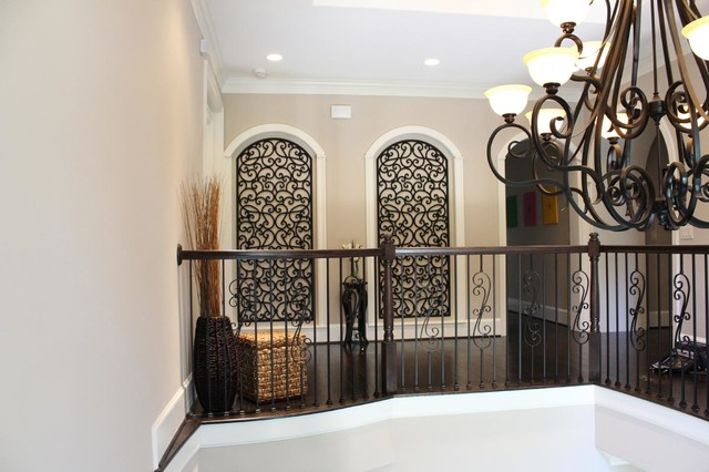 faux wrought iron art niche decor mediterranean hall. Black Bedroom Furniture Sets. Home Design Ideas