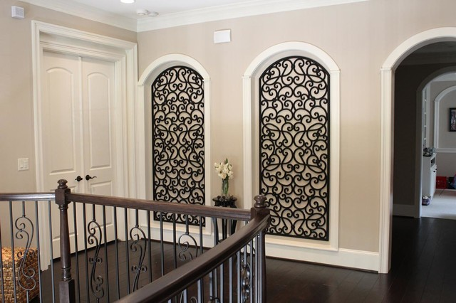 faux wrought iron art niche decor mediterranean hall houston by bmd woodworks. Black Bedroom Furniture Sets. Home Design Ideas