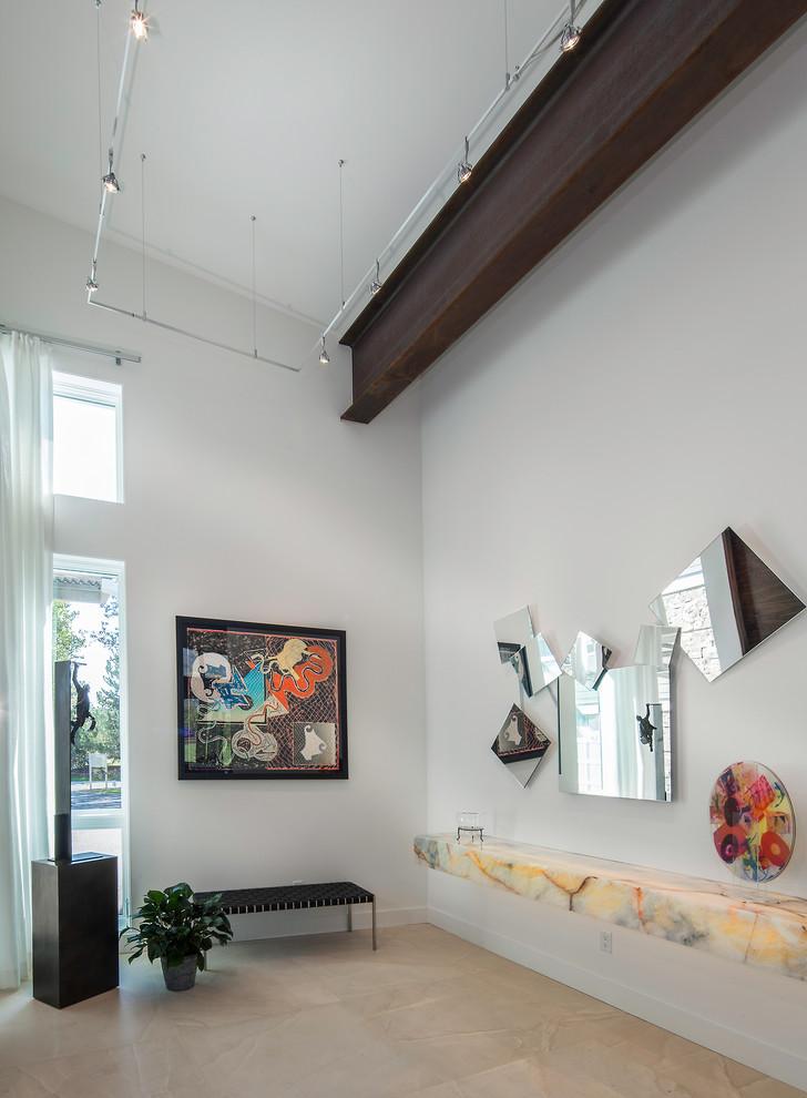 Hallway - contemporary hallway idea in Salt Lake City with white walls