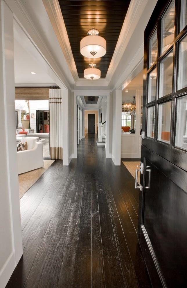 Example of a classic black floor hallway design in Orange County
