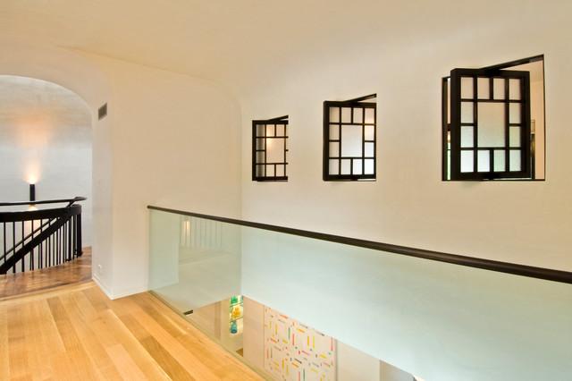 Glass Interior Wall And Pivoting Interior Windows Contemporary Corridor