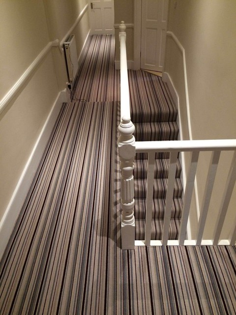 Grape U0026 Grey Stripe Stair And Hallway Carpet Victorian Hallway And Landing