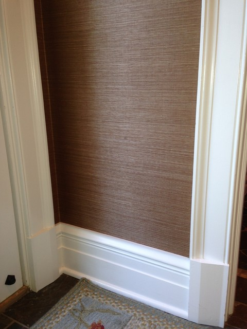 Grass Paper Wall Covering : Grass cloth inspired hallway