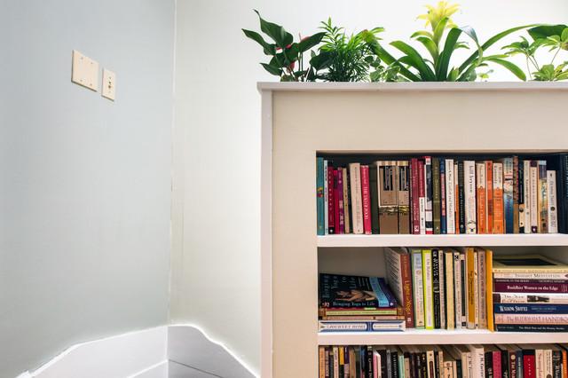 Half Wall Planter Book Shelf American Traditional Corridor