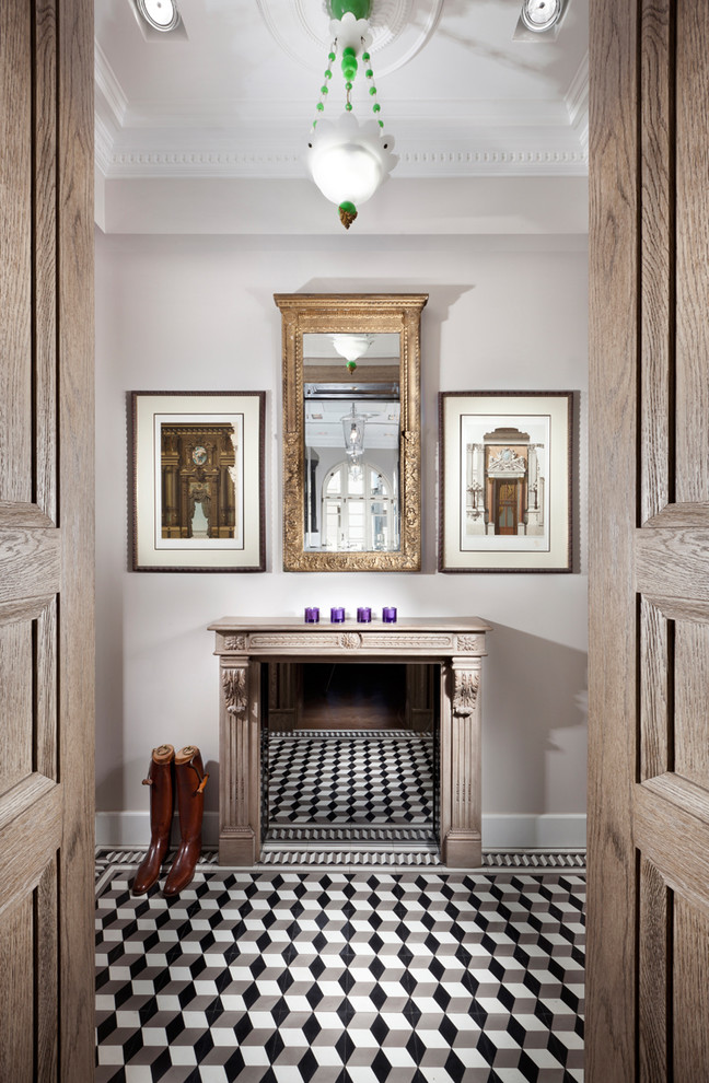 Example of a classic hallway design in Other with gray walls