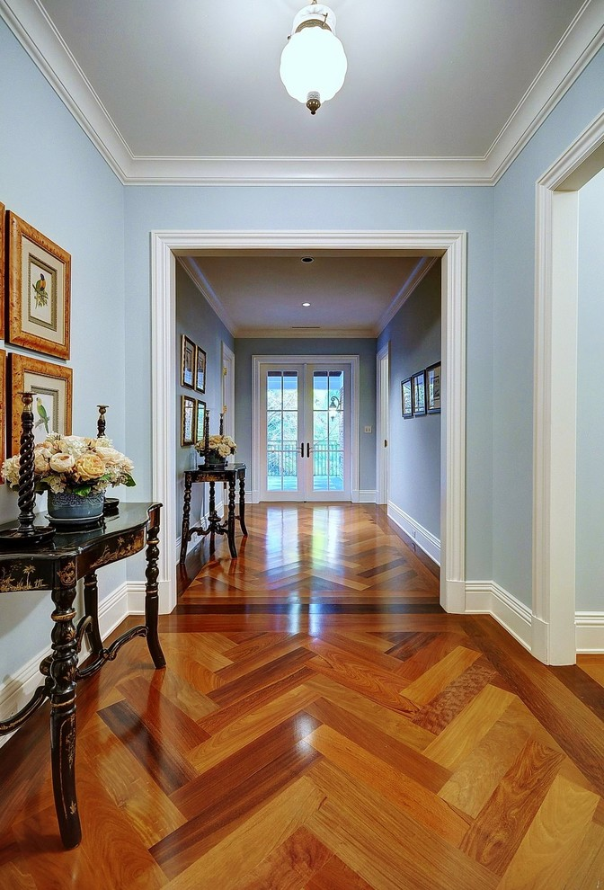 Inspiration for a timeless medium tone wood floor hallway remodel in Miami with blue walls