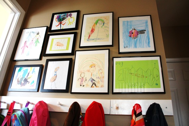 Hallway with Kids Artwork Displayed - Contemporary - Hall - charlotte ...