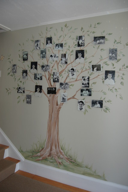 hand painted family tree mural traditional hall family tree wall mural template www imgarcade com
