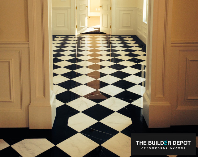 Harlequin nero marquina black marble with carrara venato white harlequin nero marquina black marble with carrara venato white marble tile traditional hall ppazfo