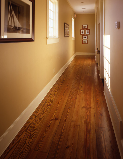 Heart pine wide plank floor traditional hall new for Traditional flooring