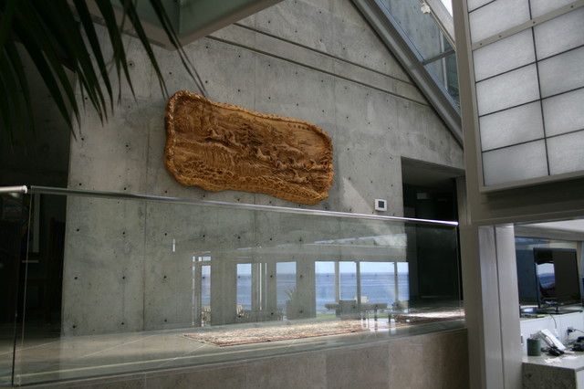 Heavy Wood/Concrete Wall - Modern - Hall - Other - by Ventura Art Hanging